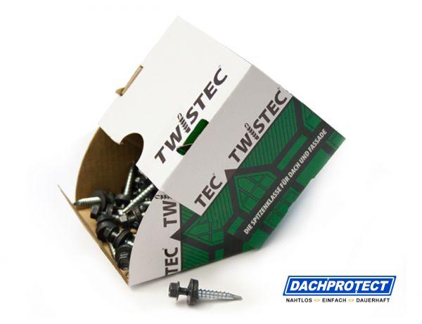 Twistec Trapezblechschraube RAL9006 (100 Stück) 4,8 x 35 mm inkl. EPDM-Dichtscheibe